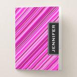 [ Thumbnail: Custom Name & Thin Pink & Magenta Lines Pattern Pocket Folder ]