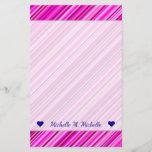 [ Thumbnail: Custom Name + Thin Pink & Magenta Lines Pattern Stationery ]