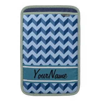 Custom Name Tiffany and Navy Blue Modern Chevron MacBook Air Sleeve