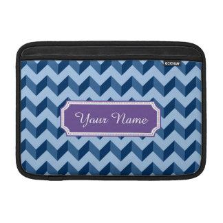Custom Name Tiffany and Navy Blue Modern Chevron MacBook Air Sleeves