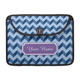Custom Name Tiffany and Navy Blue Modern Chevron MacBook Pro Sleeves