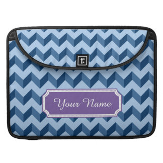 Custom Name Tiffany and Navy Blue Modern Chevron Sleeve For MacBooks