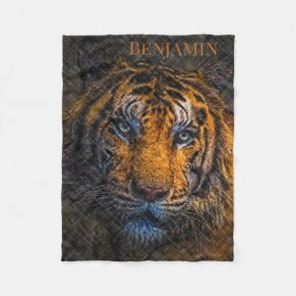 Custom Name Tiger Face Fleece Blanket