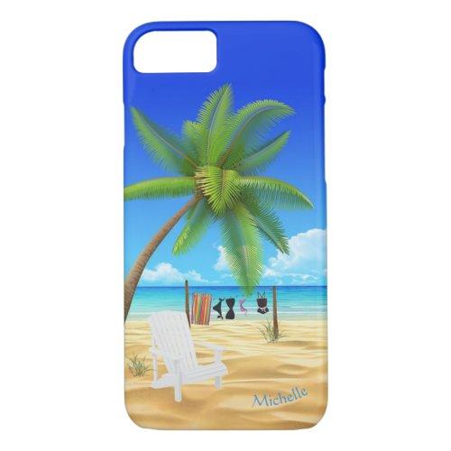 Custom Name Tropical Beach Scene Phone Case