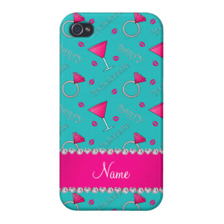 Custom name turquoise bachelorette cocktails rings iPhone 4/4S cases