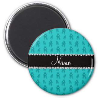Custom name turquoise ballet shoes 2 inch round magnet