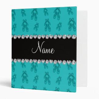 Custom name turquoise ballet shoes 3 ring binder