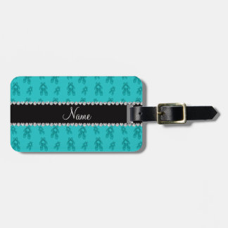 Custom name turquoise ballet shoes tags for luggage