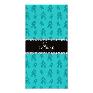 Custom name turquoise ballet shoes photo card