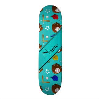 Custom name turquoise baseball glove hats balls skateboard deck