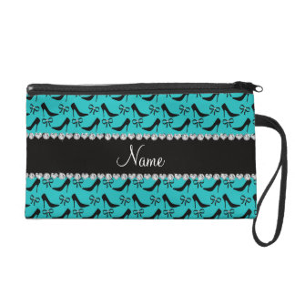 Custom name turquoise black high heels bow diamond wristlet purse