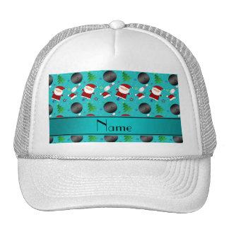 Custom name turquoise bowling christmas pattern trucker hat
