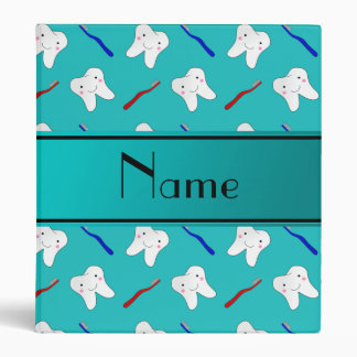 Custom name turquoise brushes and tooth pattern vinyl binder