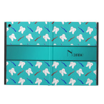Custom name turquoise brushes and tooth pattern cover for iPad air