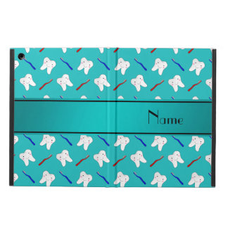 Custom name turquoise brushes and tooth pattern iPad air case