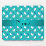 Custom name turquoise brushes and tooth pattern mouse pad