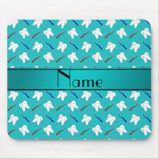 Custom name turquoise brushes and tooth pattern mousepads