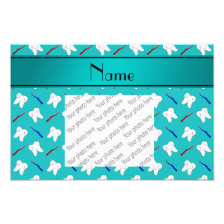 Custom name turquoise brushes and tooth pattern art photo