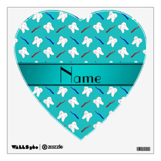 Custom name turquoise brushes and tooth pattern room decals