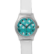 Custom name turquoise brushes and tooth pattern wristwatch