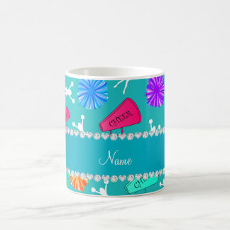 Custom name turquoise cheerleading pompoms coffee mug