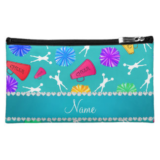 Custom name turquoise cheerleading pompoms makeup bag