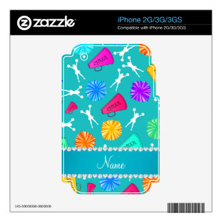 Custom name turquoise cheerleading pompoms skins for the iPhone 3G