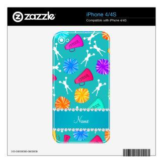 Custom name turquoise cheerleading pompoms iPhone 4S decals