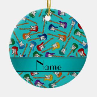 Custom name turquoise colorful electric guitars ceramic ornament
