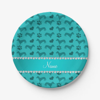Custom name turquoise dachshunds hearts paws paper plate