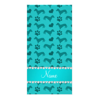 Custom name turquoise dachshunds hearts paws picture card