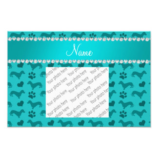 Custom name turquoise dachshunds hearts paws photo print