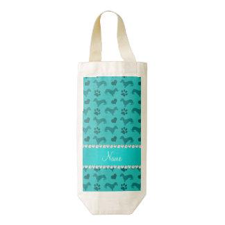 Custom name turquoise dachshunds hearts paws zazzle HEART wine bag