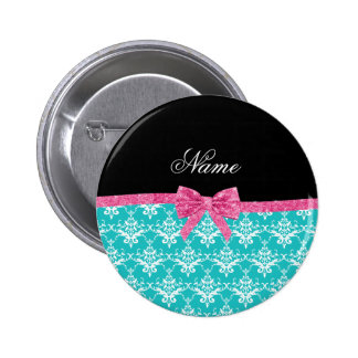Custom name turquoise damask pink glitter bow buttons