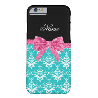 Custom name turquoise damask pink glitter bow barely there iPhone 6 case