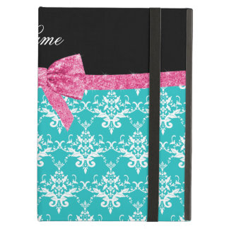 Custom name turquoise damask pink glitter bow iPad cases