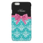 Custom name turquoise damask pink glitter bow glossy iPhone 6 case