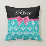Custom name turquoise damask pink glitter bow pillows