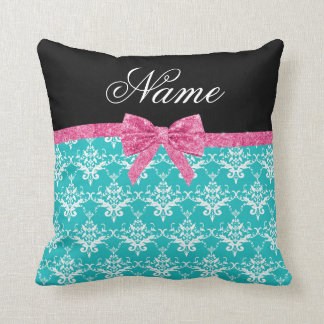Custom name turquoise damask pink glitter bow throw pillow