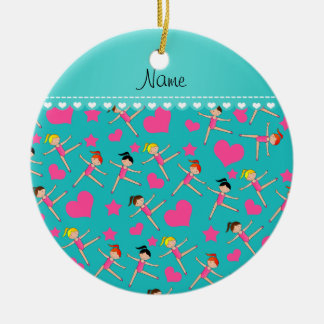 Custom name turquoise girl gymnasts hearts stars ceramic ornament