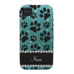 Custom name turquoise glitter black dog paws iPhone 4/4S cover
