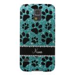 Custom name turquoise glitter black dog paws galaxy s5 case