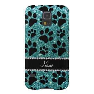 Custom name turquoise glitter black dog paws case for galaxy s5