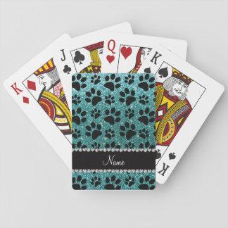Custom name turquoise glitter black dog paws playing cards