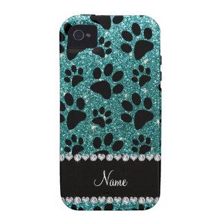Custom name turquoise glitter black dog paws vibe iPhone 4 cases