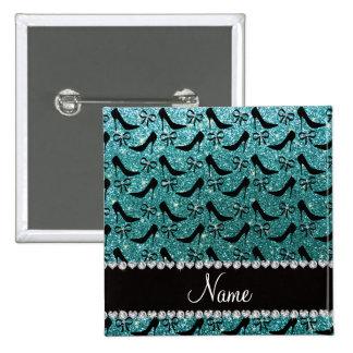 Custom name turquoise glitter black high heels bow button