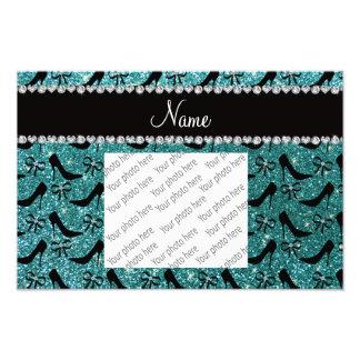 Custom name turquoise glitter black high heels bow photo
