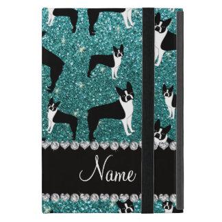 Custom name turquoise glitter boston terrier iPad mini covers