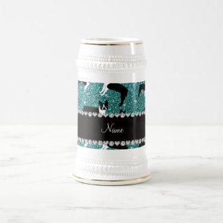 Custom name turquoise glitter boston terrier coffee mug