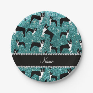 Custom name turquoise glitter boston terrier paper plate